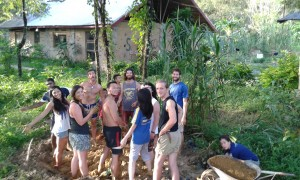 Making mud with your feet at Saelao Project in Laos!
